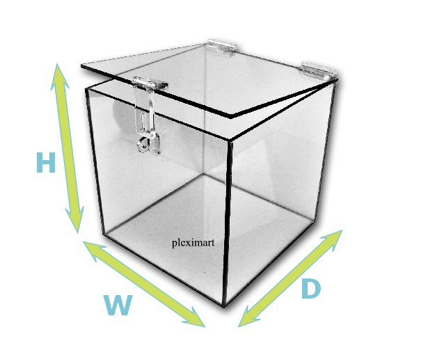 Acrylic Box W/Hasp -1/4 Thick - 10 x 10 x 10