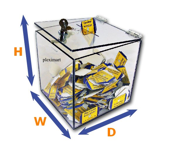 Clear Acrylic Ballot Lead Box - 10 x 10 x 10 - 1/8 Thick