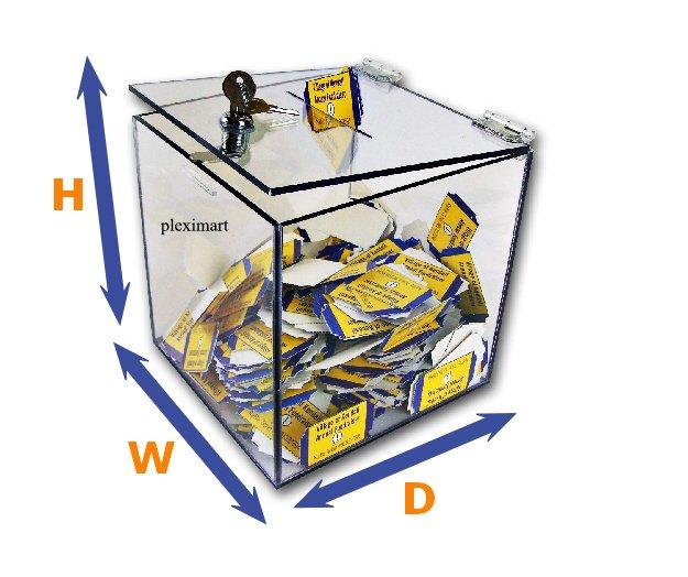 Clear Acrylic Ballot Lead Box - 10 x 10 x 10 - 1/8 Thick