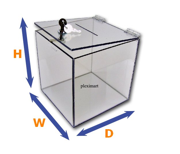 Clear Plastic Suggestion , Ballot Box - 10 x 10 x 10 - 1/4 Thick