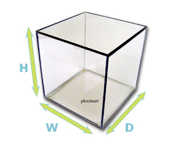 Clear Plastic Display Box With Base 1/4 Thick - 10x10x10