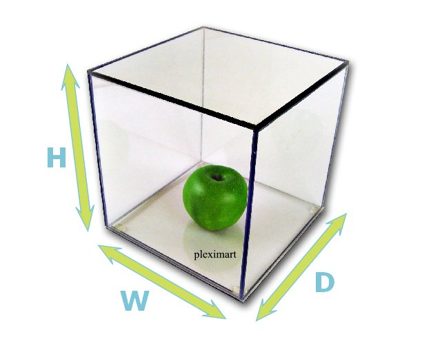 Acrylic Display Case 6H x 6 W x 6 D, with a white base.