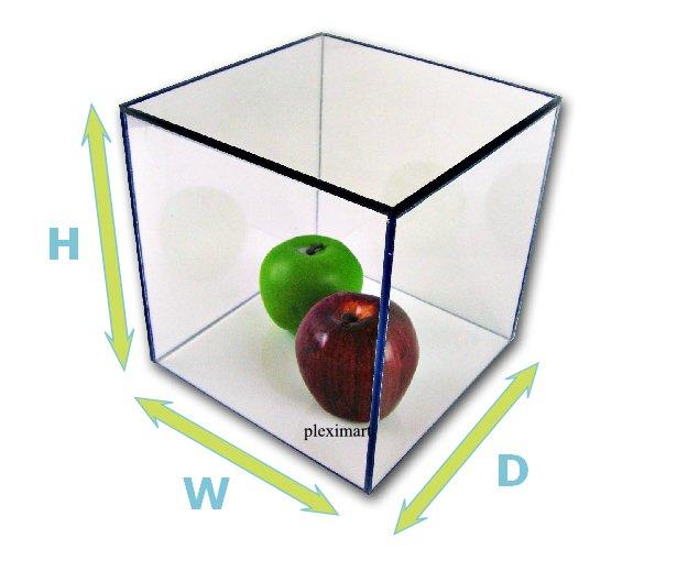 Plexiglass Display Box 10H x 10 W x 10 D, with a white base.