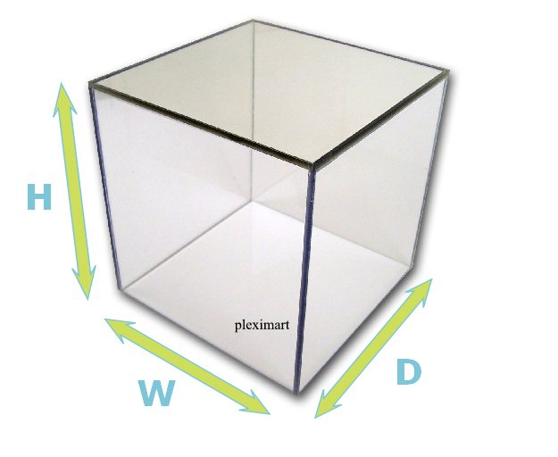 Plexiglass Display Case 10H x 10 W x 10 D, with a white base.