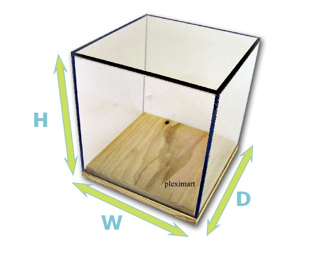 10x10x10 Acrylic Box Case with Wood Base -1/8 Thick