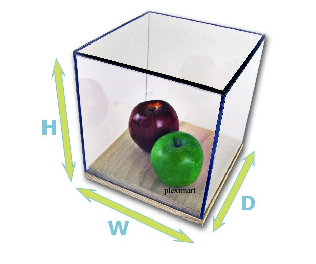 Plexiglass Display Case 10H x 10 W x 10 D, With a Wood Base.