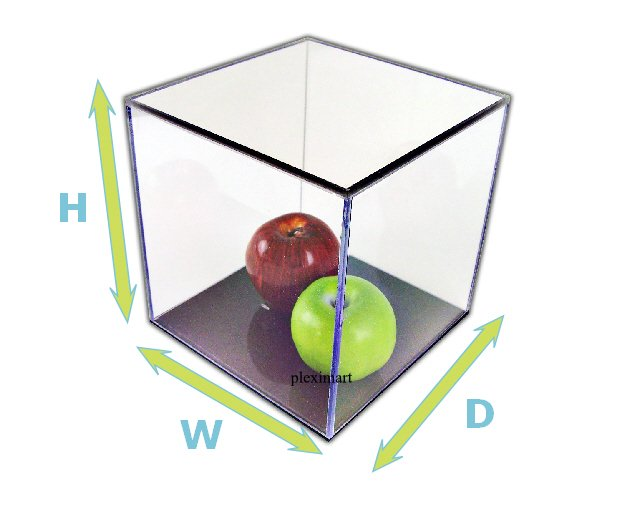 Lucite Box 10H x 10W x 10D, with a black base 1/4 Thick.