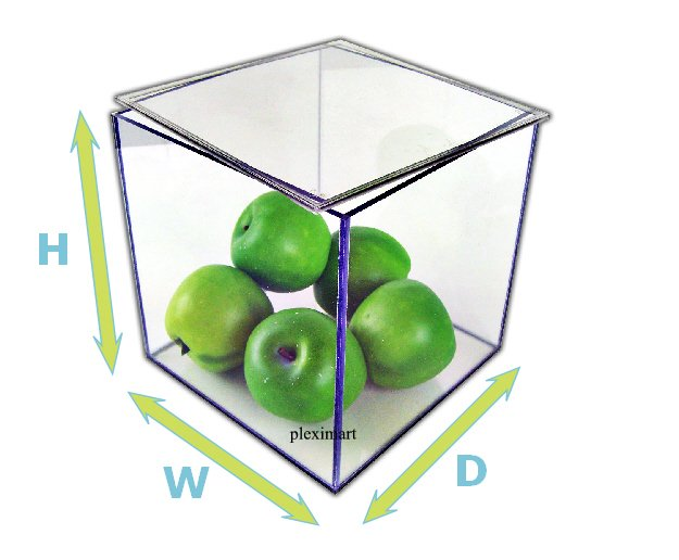 Acrylic display box with a removable  Lid - 10 H x 10 W x 10 D - 1/8 thick
