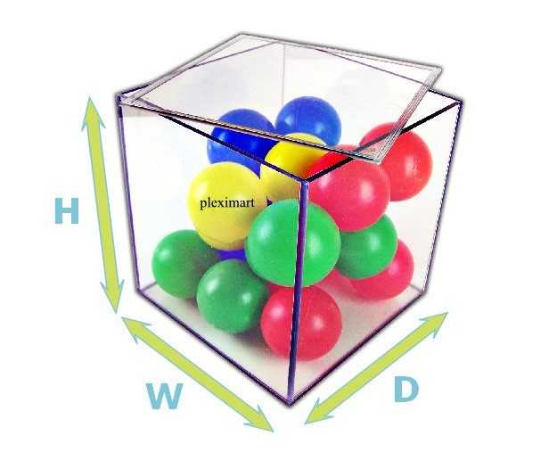 Acrylic box with hihged lid - 10D x 10 W x 10 H - 3/16 Thick