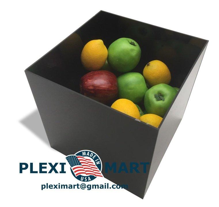 10 x 10 x 10 Black Acrylic Plexiglass Box 1/8 Thick