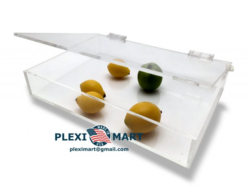Clear Acrylic Display Tray W/Hinged Lid 10x 10x 1