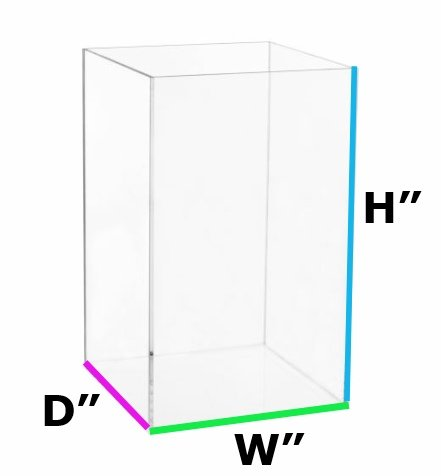 12 W x 12 D x 24 H - 1/2 Thick Clear Acrylic Box