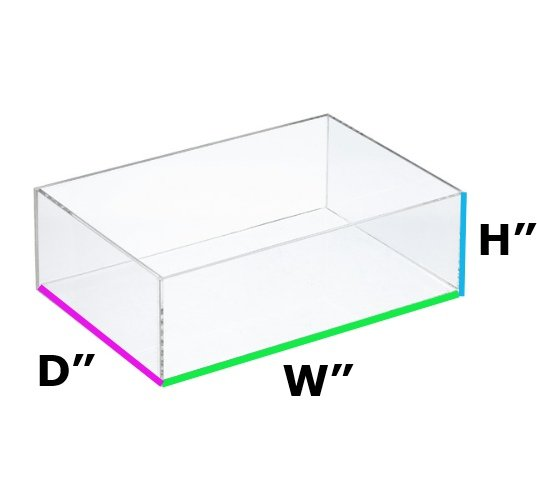10 W x 5 D x 5 H - 1/4 Thick Clear Acrylic Rectangle Box