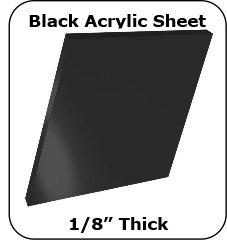 6x12 Black Plexiglass Sheet - 1/8 Thick