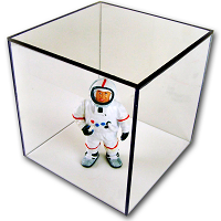 Clear Acrylic Box with clear acrylic base - rubber silicone base bumpers.