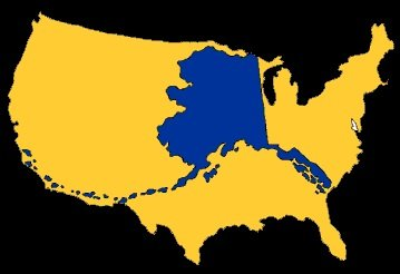 About Alaska - Alaska over the us map