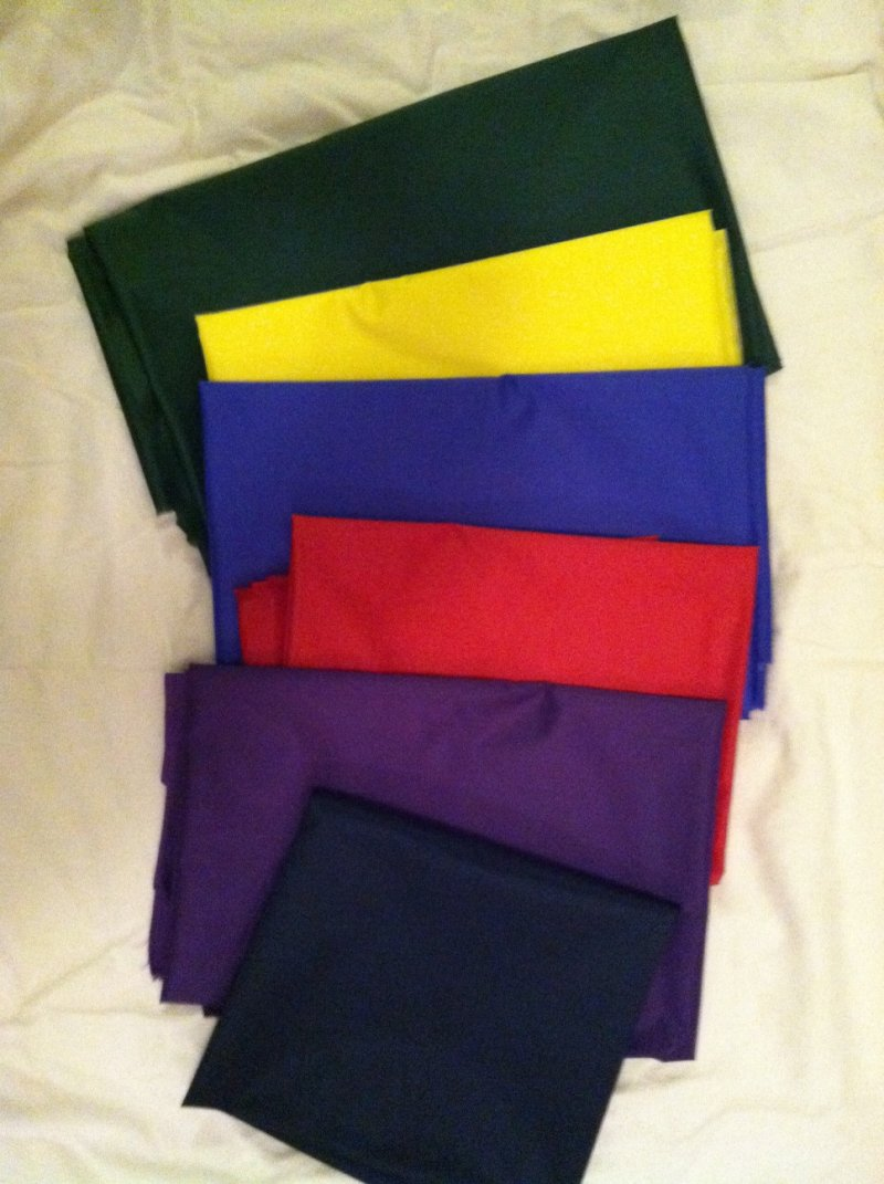 green, yellow, royal blue, red, purple, navy, black