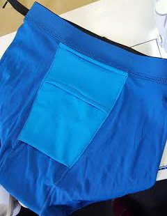 This is the front of pouch on Jock Pocket or AllnOne that faces the fly to drop your shaft thru for natural hang or STP access via fly