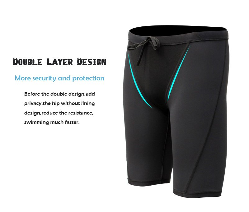 We use same color material on your swim jammers. Black on black. This is shown in light blue to show pocket sewn on boxers
