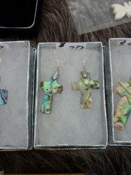 HC abalone crosses earrings