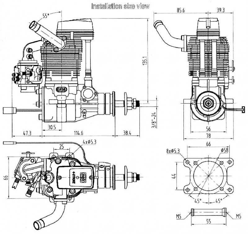 quad 4 engine dimensions