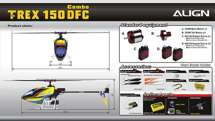 Image 2 of Align T-REX 150 DFC COMBO BTF TWIN BL MOTOR, 2S 7.4V 250MAH