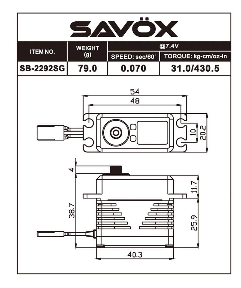Image 1 of Savox 2292SG Monster Performance, Brushless Servo Black Edition 0.055sec / 624.9