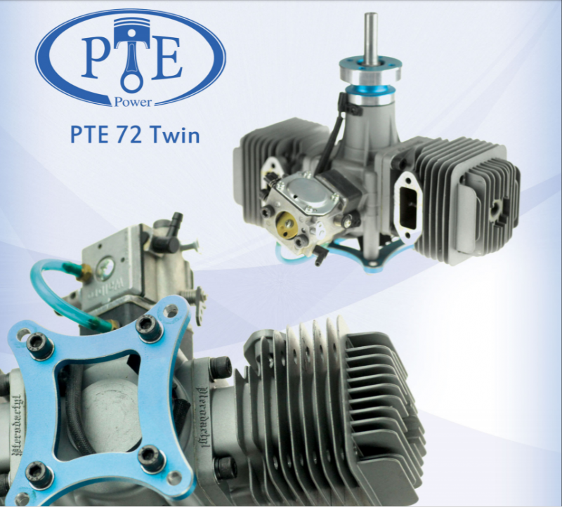 Image 5 of PTE72T 72cc 8 h.p twin cylinder RC model aircraft engine gasoline