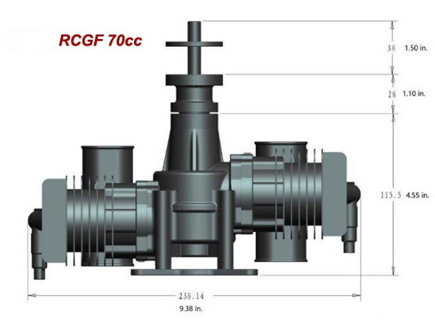 Image 9 of RCGF 70cc TWIN Gas Engine (new version w/angled plugs)