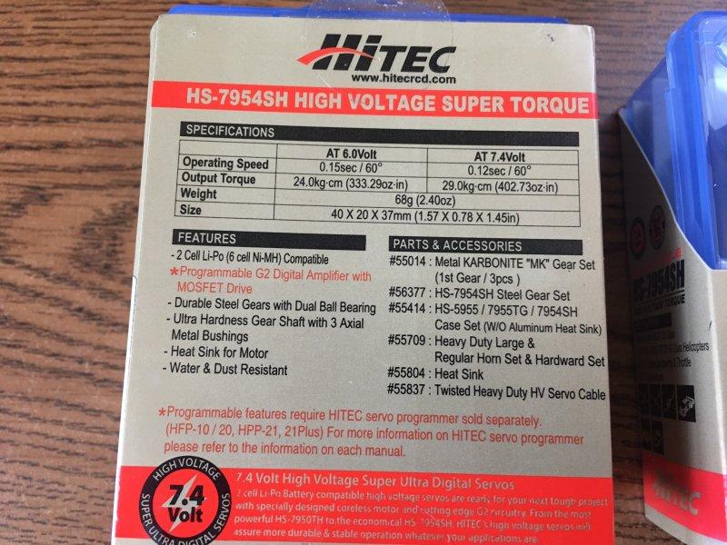 Image 1 of Lot of (2) Hitec HS-7954SH High Torque HV Coreless Steel Gear Servo