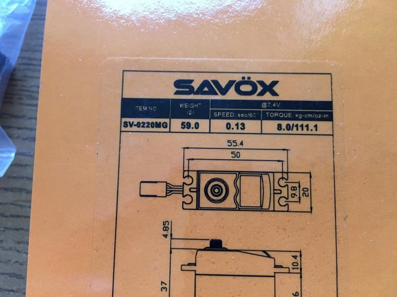 Image 1 of Savox (LOT of 6) 0220MG High Voltage 13/111.1 @7.4 digital Servos savsv0220MG