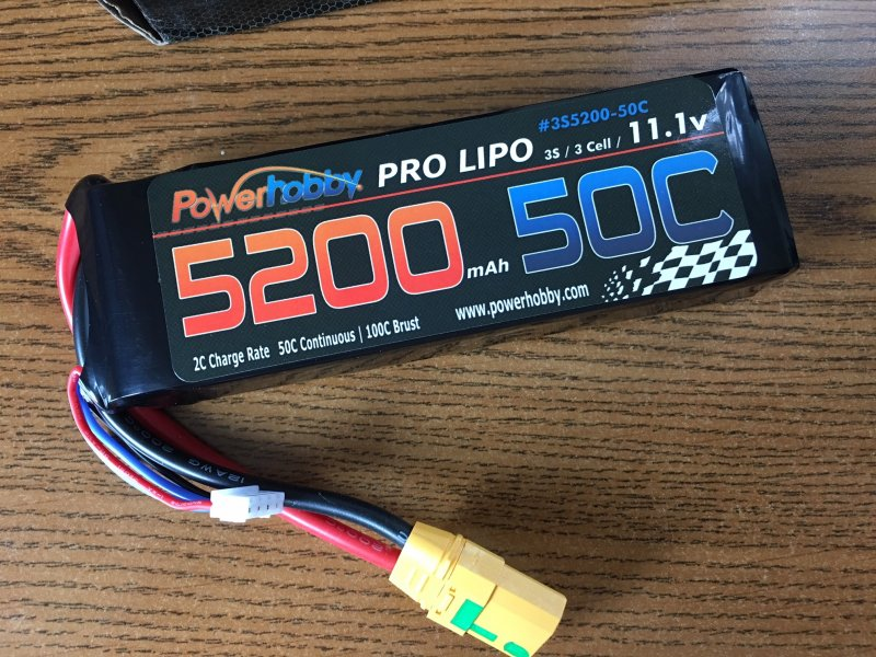 Image 0 of 5200mAh 11.1V 3S 50C Lipo Battery w/ Hardwired XT90 Connector