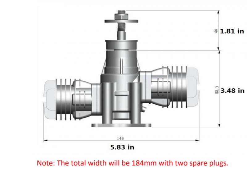 Image 9 of RCGF 21cc Twin Cylinder Gas R/C Engine