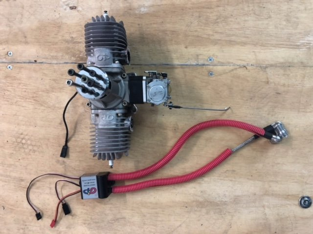 Image 0 of GP 123 Gasoline aircraft engine V2 complete, mufflers & ignition