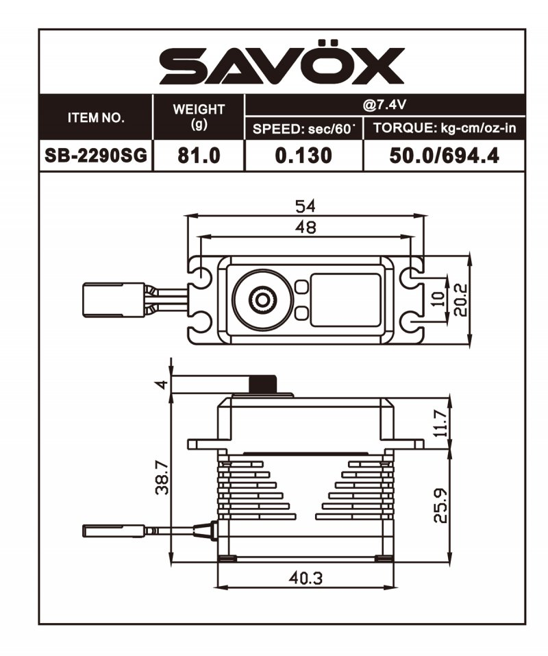 Image 6 of Savox 2290SG Monster Torque Brushless Servo, Black  0.11sec / 902.7oz @ 8.4V