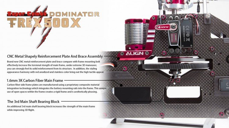 Image 5 of Align T-Rex 500X Dominator Super Combo Helicopter with DS530/DS535 Servos