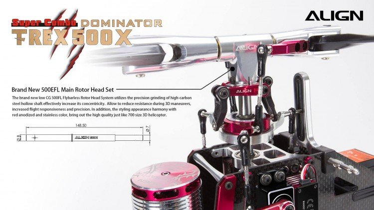 Image 6 of Align T-Rex 500X Dominator Super Combo Helicopter with DS530/DS535 Servos