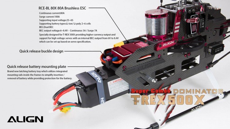 Image 7 of Align T-Rex 500X Dominator Super Combo Helicopter with DS530/DS535 Servos