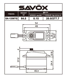 Image 1 of Savox 1256TG Standard Size Coreless Digital Servo .15/277 @ 6V