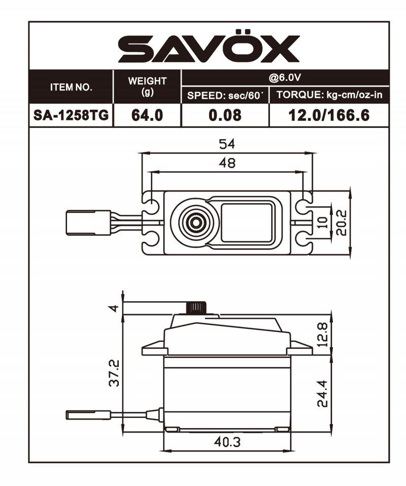 Image 1 of Savox 1258TG Standard Size Coreless Digital Servo .08/166 @ 6V