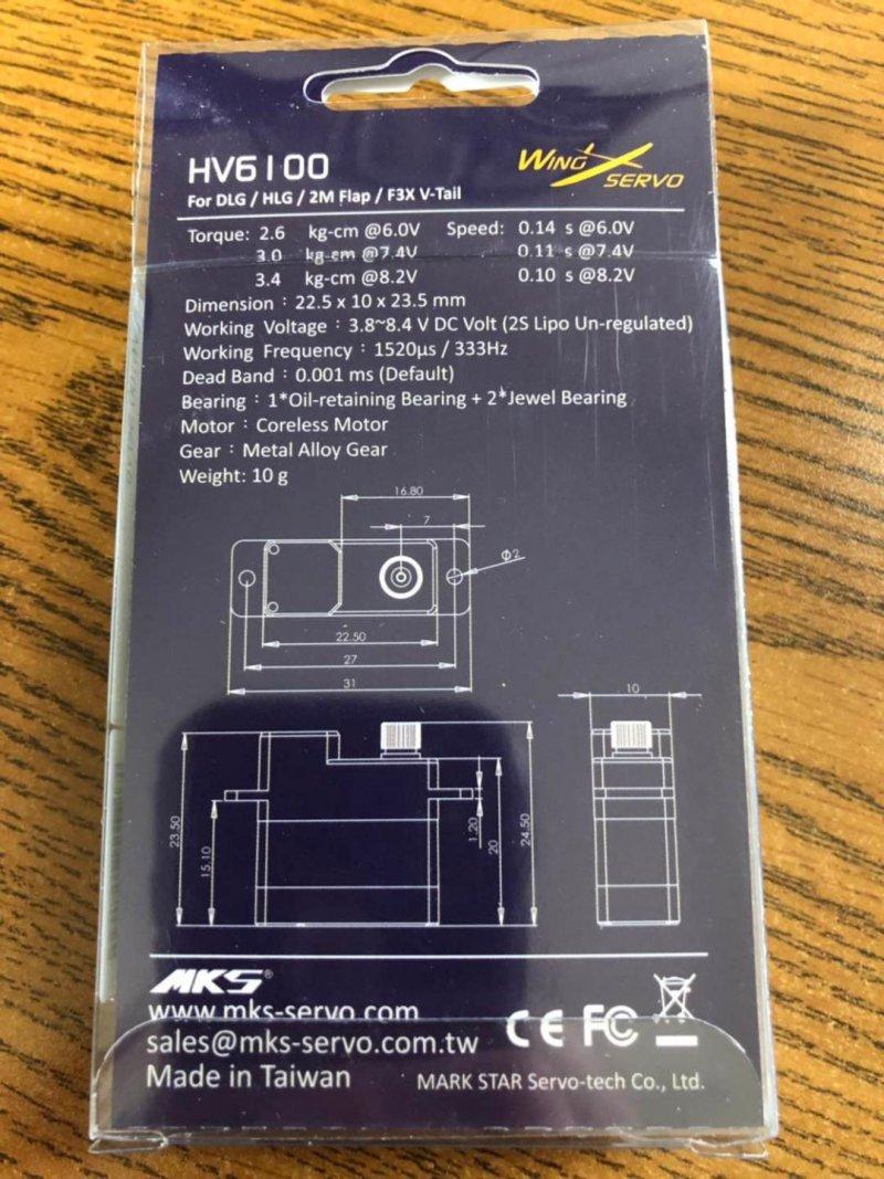 Image 1 of MKS HV6100 Torque (7.4V)3.0 kg.cm (41.66 oz/in)