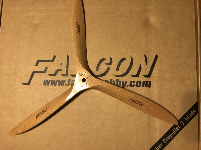 Image 3 of Falcon 3-Blade 16x10 German beechwood propeller