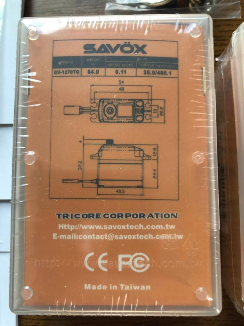 Image 2 of Lot of 2 Savox 1270TG HV CORELESS DIGITAL SERVO .11/486.1 STANDARD SIZE 7.4V