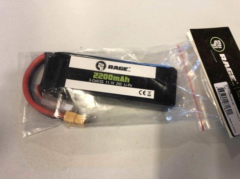 Image 0 of Rage 3S 11.1V 2200mAh 25C Lipo Battery; Defender 1100