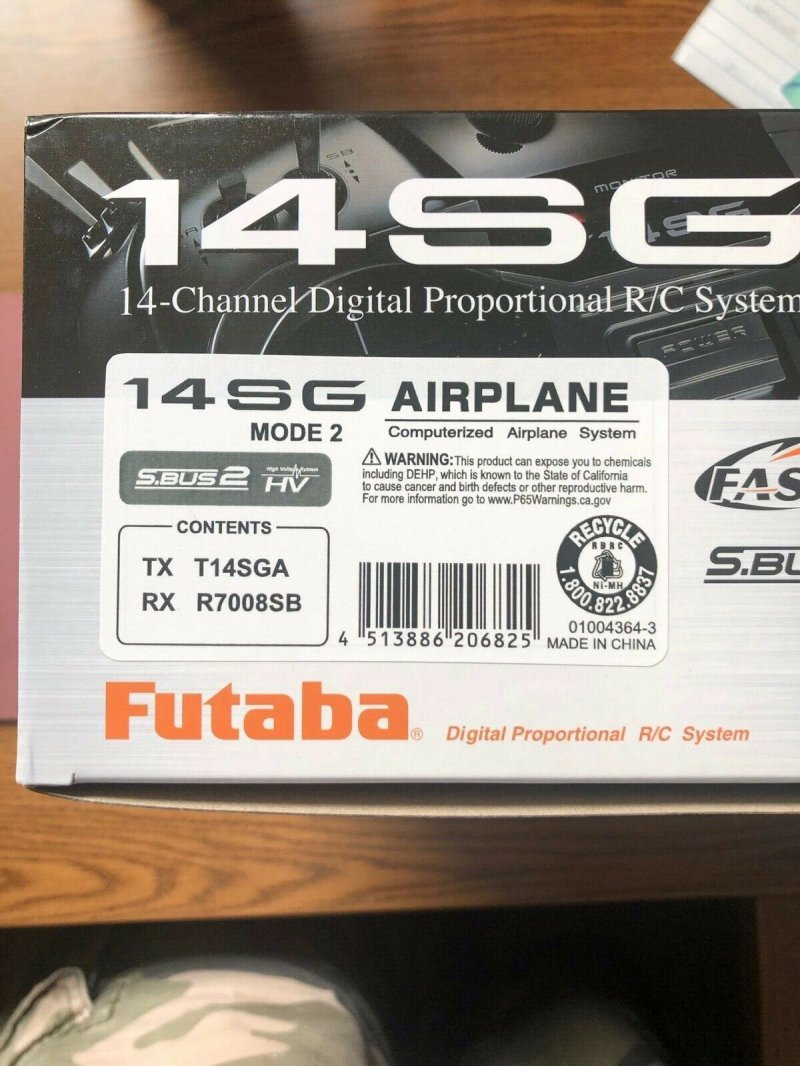 Image 2 of Futaba 14SGA 2.4GHz FASST Airplane Spec Radio System w/ R7008SB Receiver