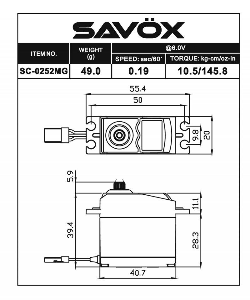 Image 1 of Savox 0252MG STD DIGITAL SERVO .19/145