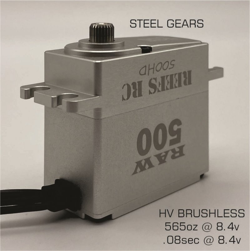 Image 1 of Reef Raw 500 High Torque High Speed HV Waterproof Brushless Servo .095/500 @7.4V