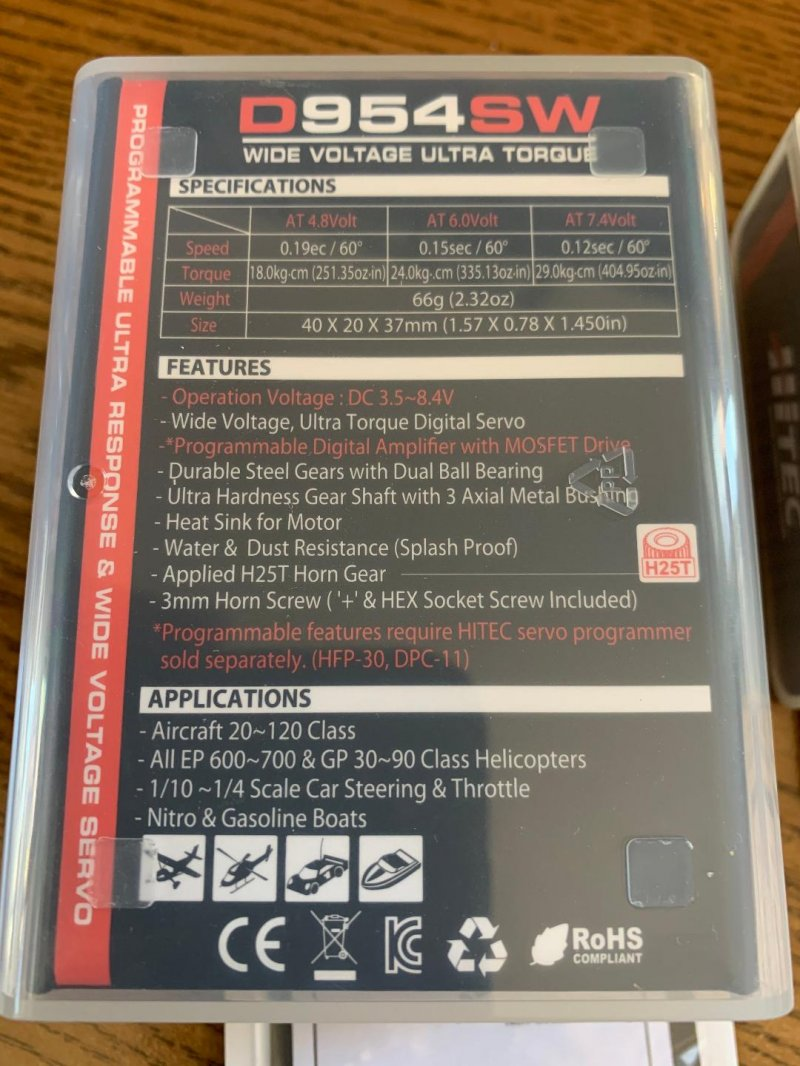 Image 1 of Hitec D-954SW High Torque Steel Gear Servo .12sec/405oz @ 7.4v