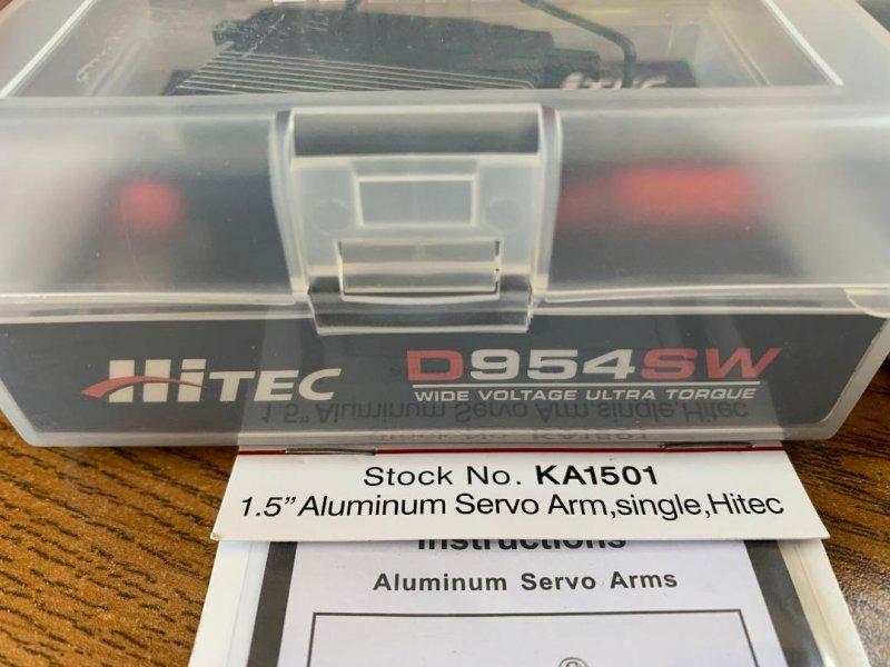 Image 2 of Hitec D-954SW (lot of 2) High Torque Steel Gear Servo .12sec/405oz @ 7.4v