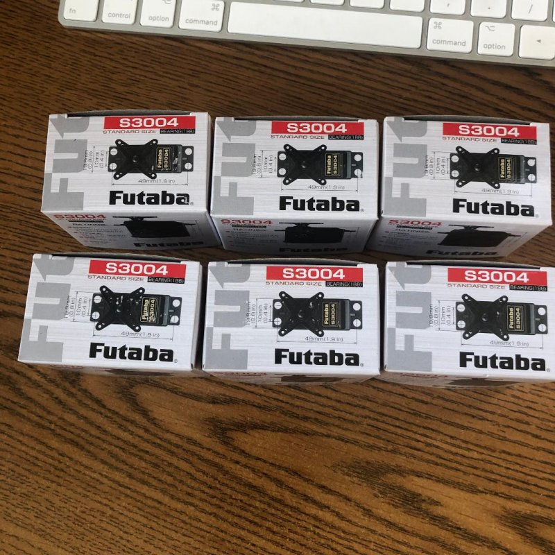 Image 0 of Futaba S3004 (Lot of 6) Standard Ball Bearing Servo .19sec/56.9oz @ 6V